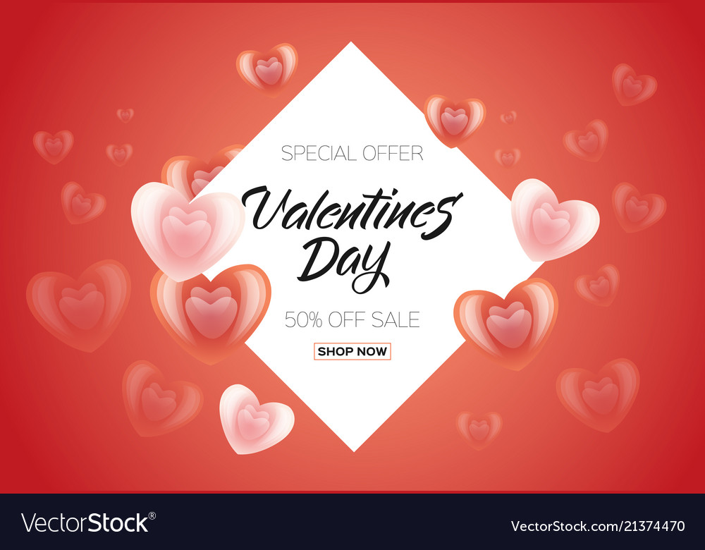 Happy valentines day sale poster banner