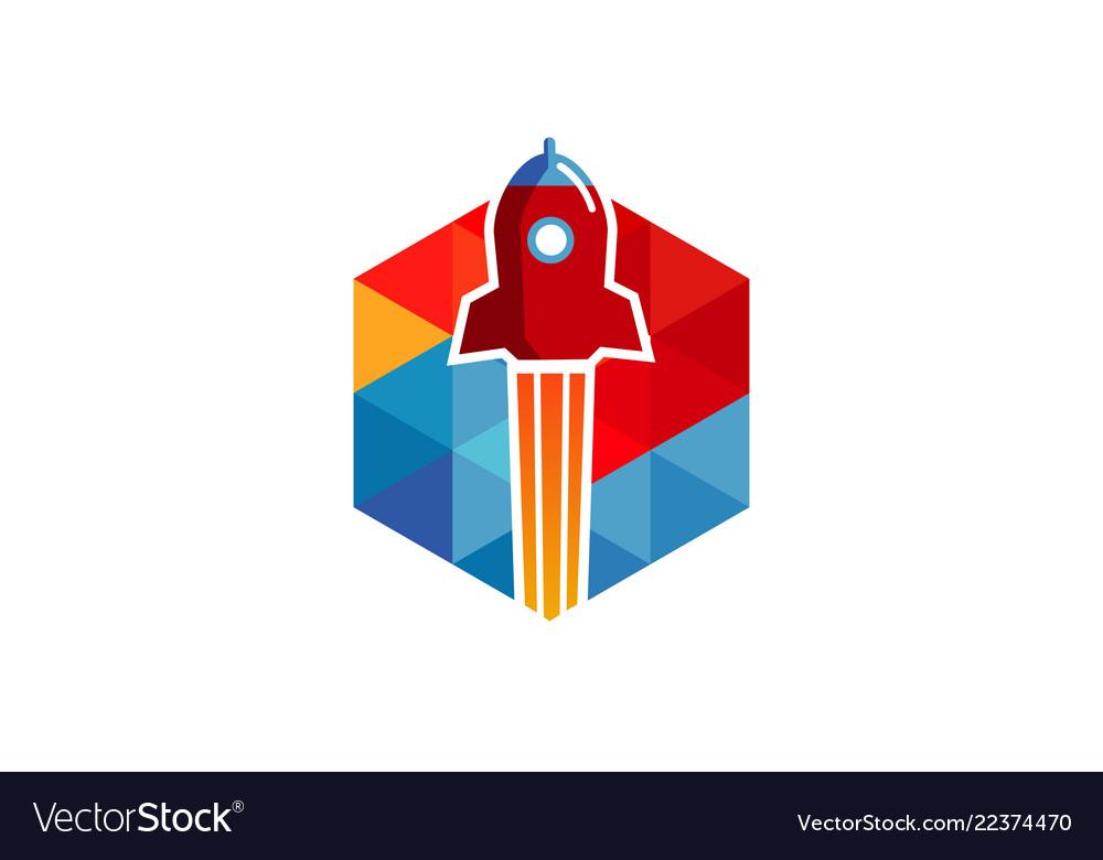 Hexagon rocket logo