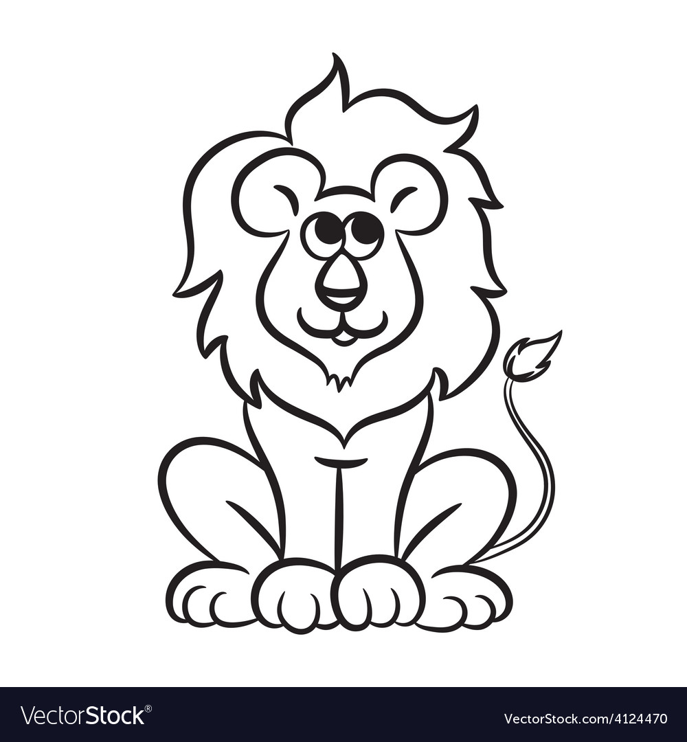 Lion black and white Royalty Free Vector Image