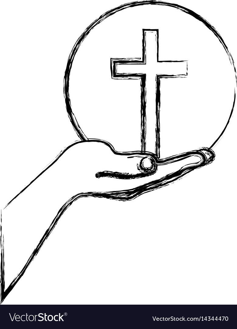 Monochrome sketch silhouette of hand extended with vector image