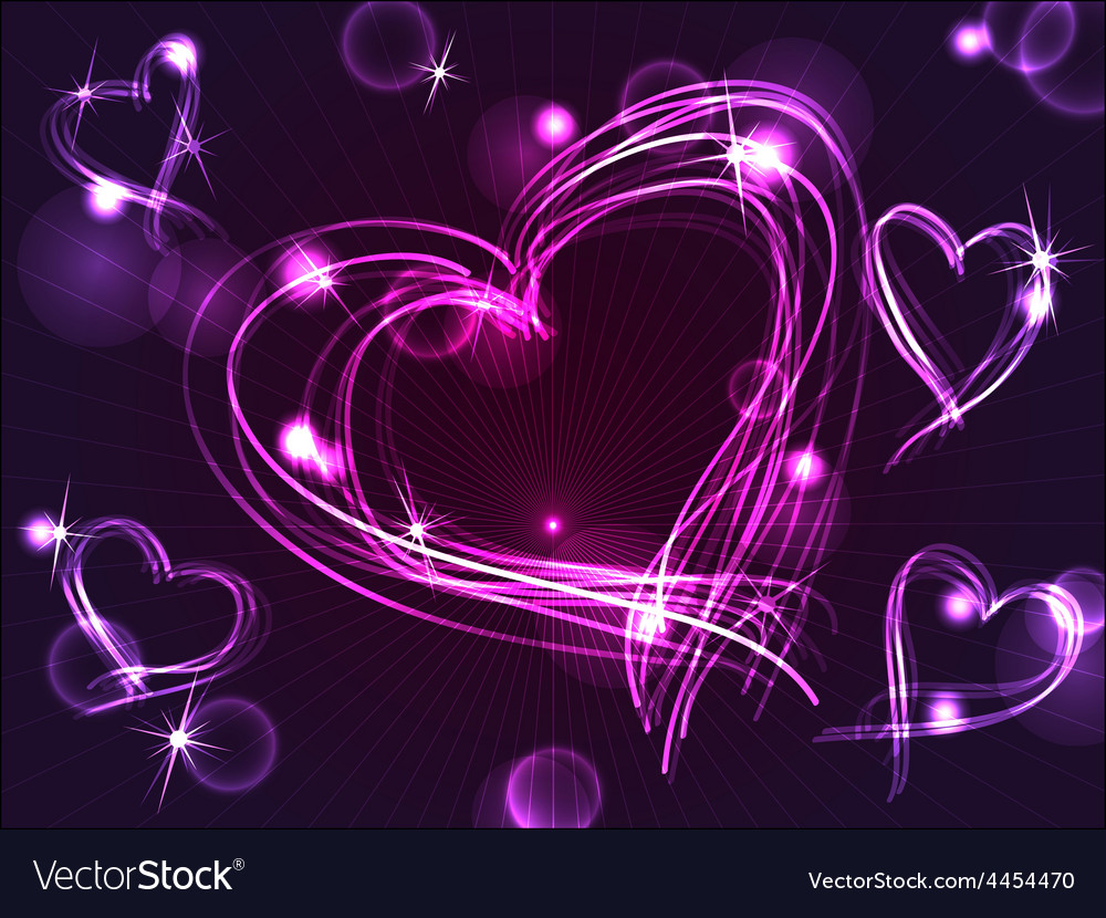 Neon or plasma purple hearts Royalty Free Vector Image