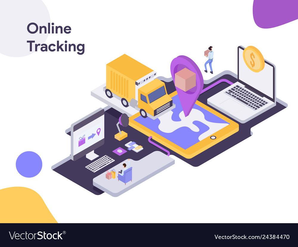 Online delivery tracking isometric modern flat
