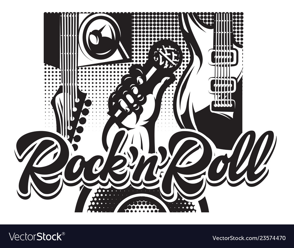 Poster with guitar hand and calligraphic