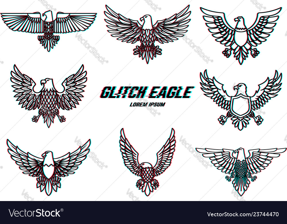 Set of eagle in line style with glitch effect