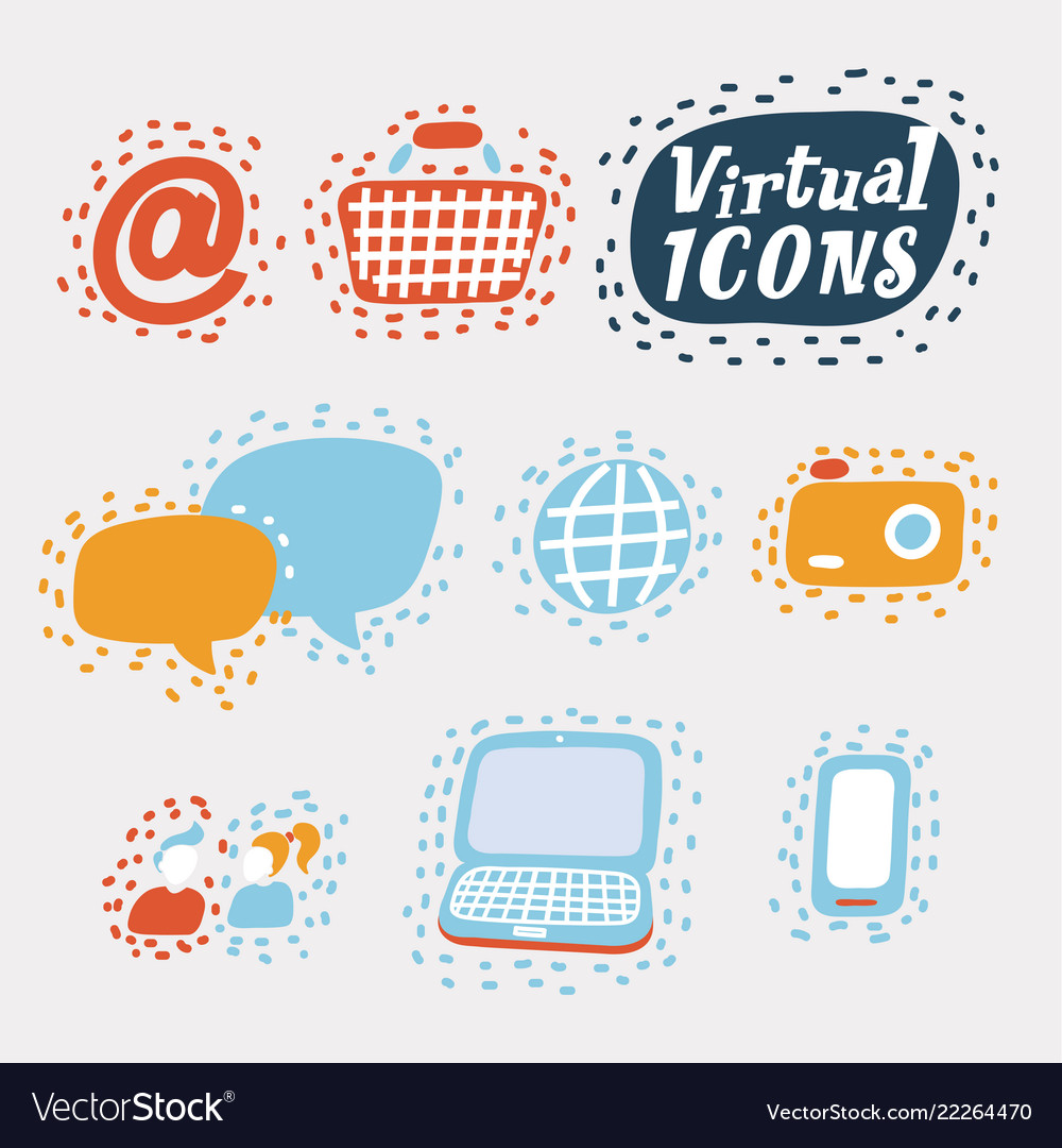 Set of flat virtual icons for mobile app and web