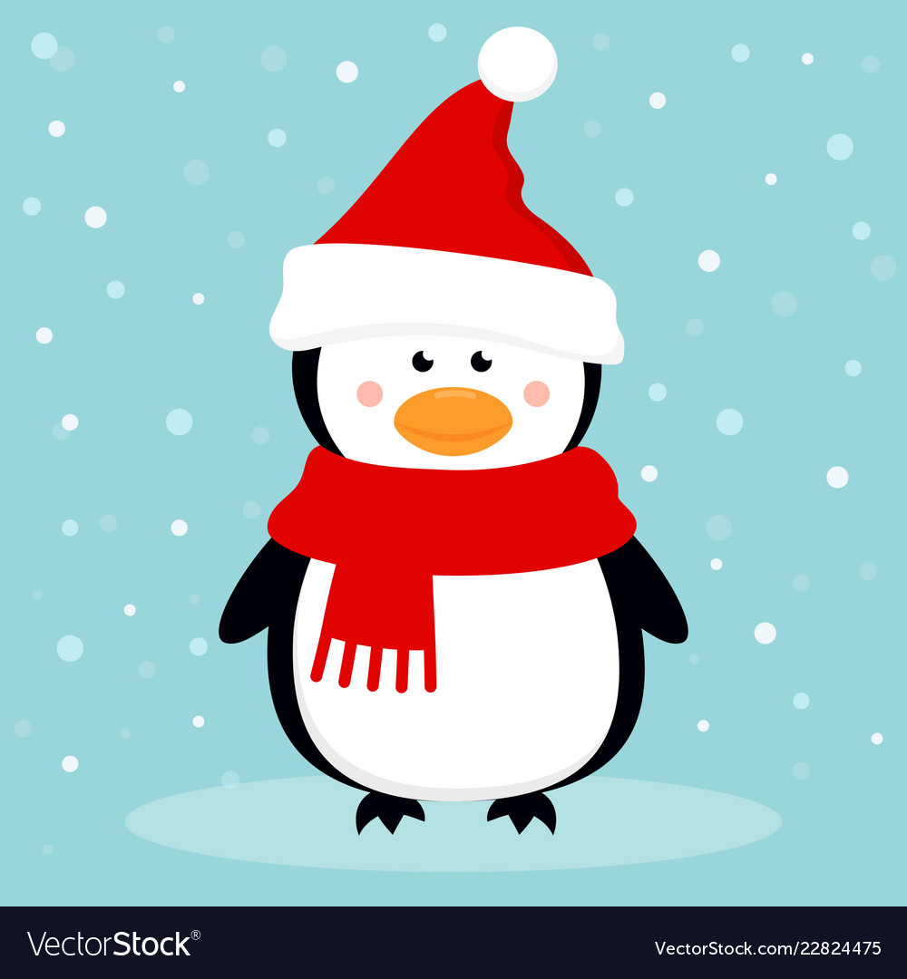 Cartoon penguin on the winter background