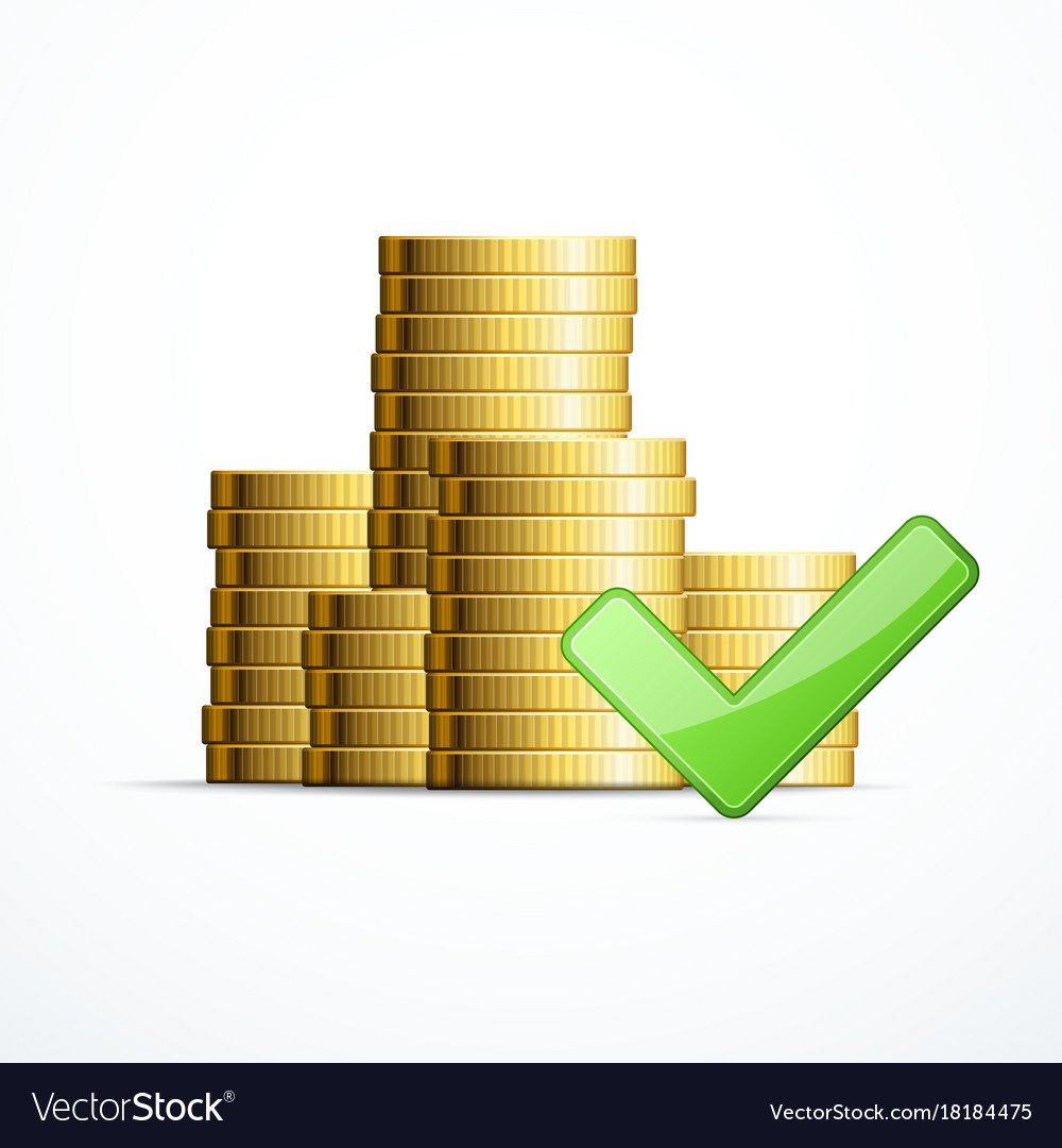 Coins stack and check mark