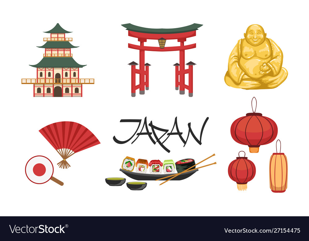 Collection japan traditional cultural symbols