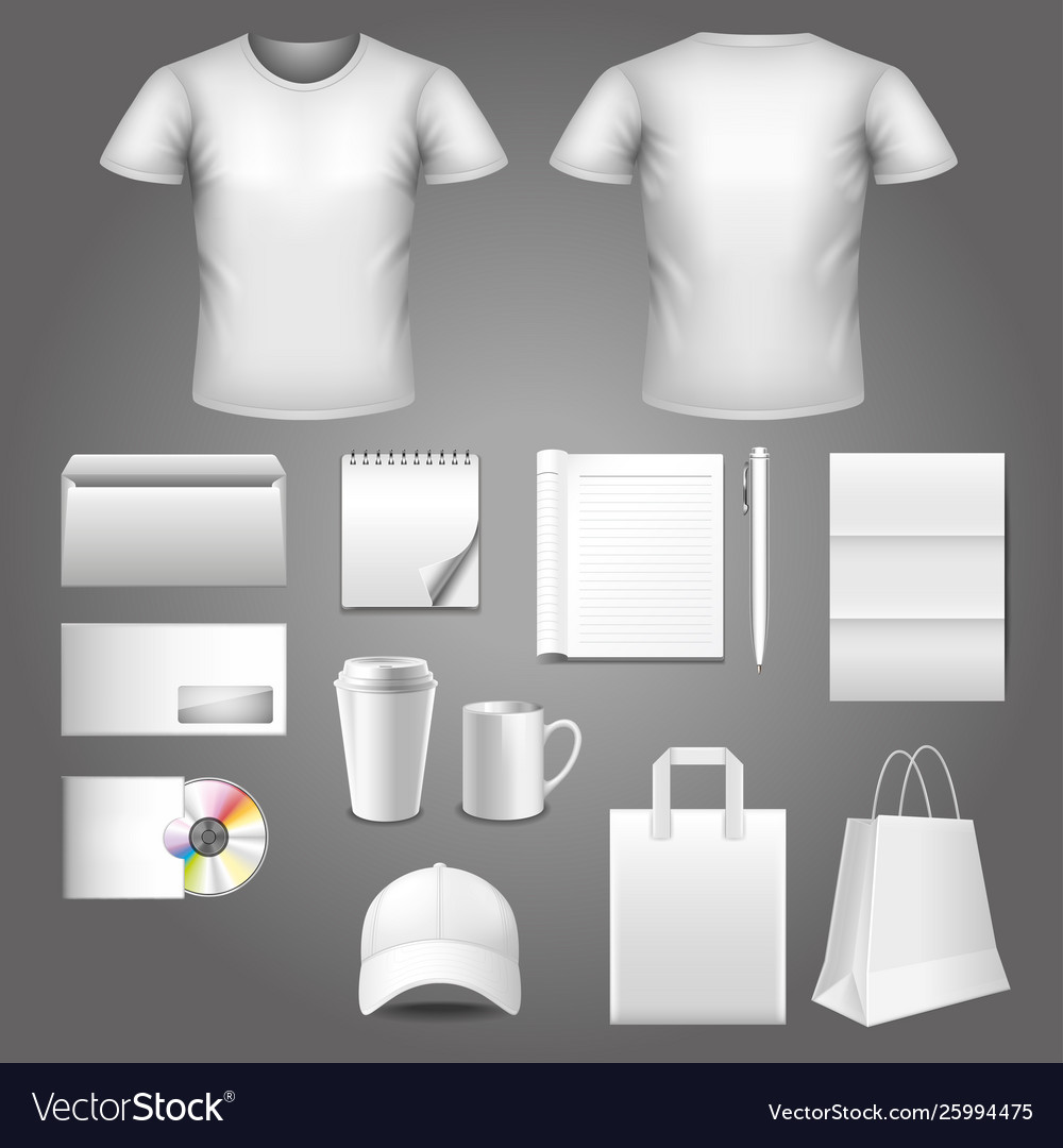 Corporate identity template photo realistic set