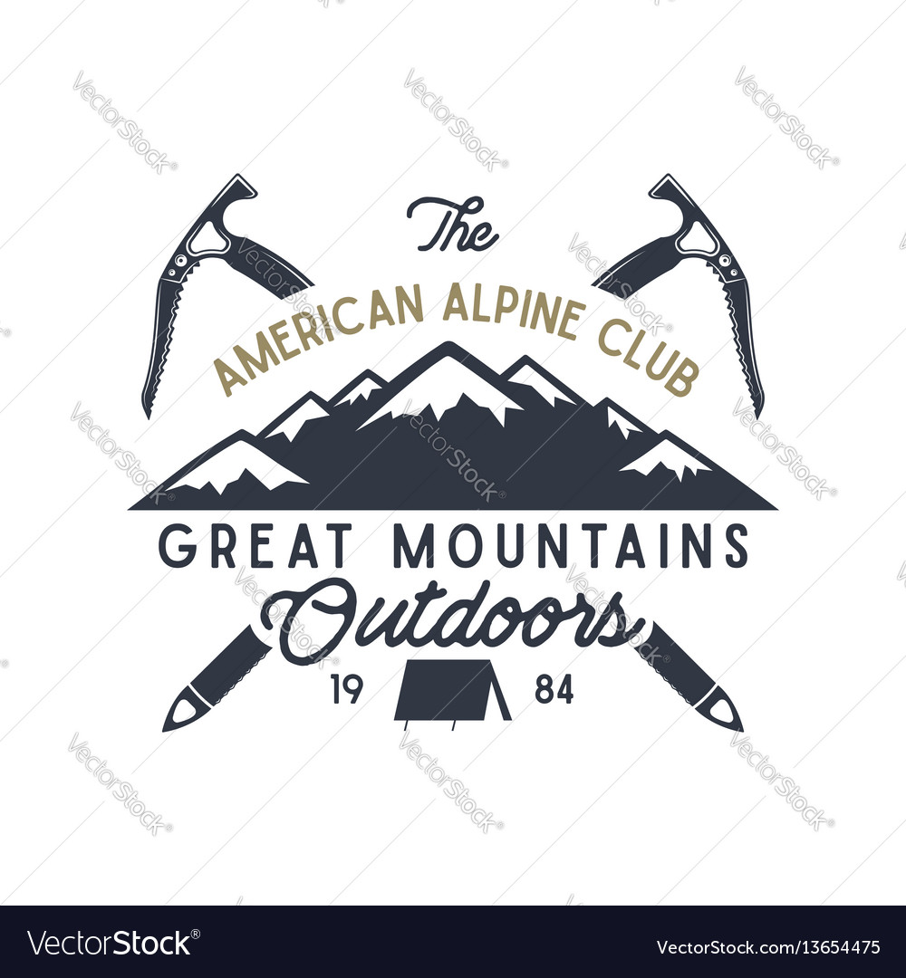 Great mountains outdoors label vintage hand drawn