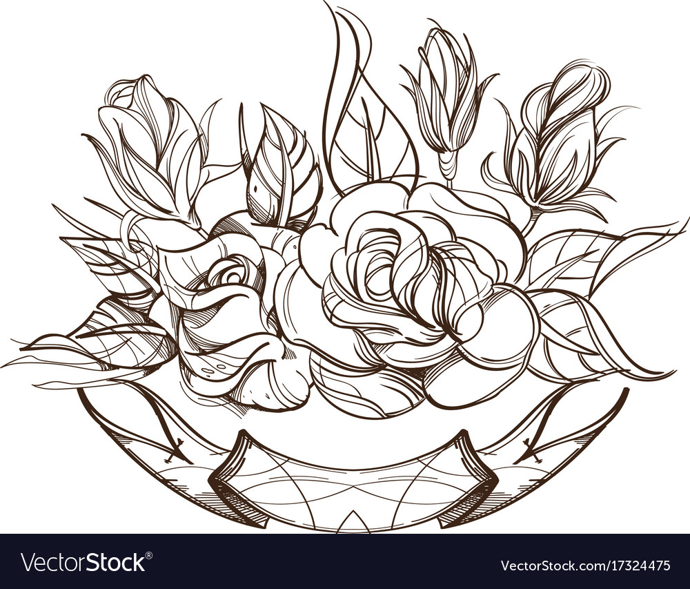 hand drawn roses floral design element outline vector image rh vectorstock com