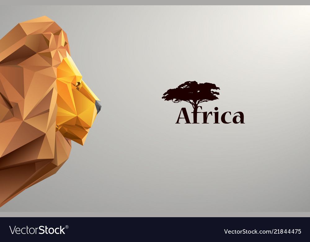 Head of lion from triangles