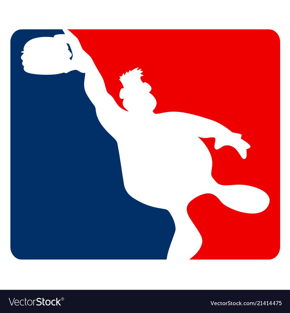 Large guy slamming a hamburger sports cartoon