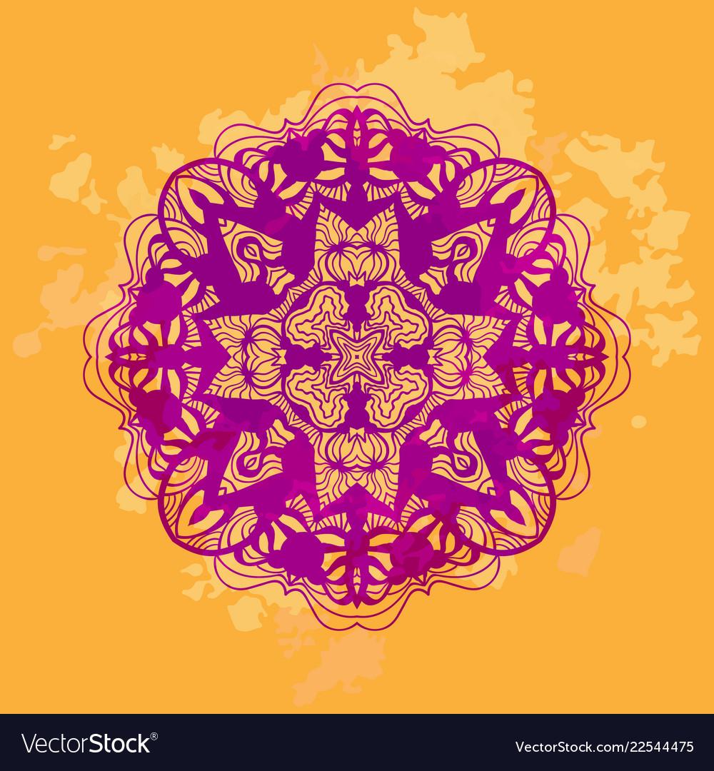 Mandala Art Stylized Lotus Yoga Design Royalty Free Vector