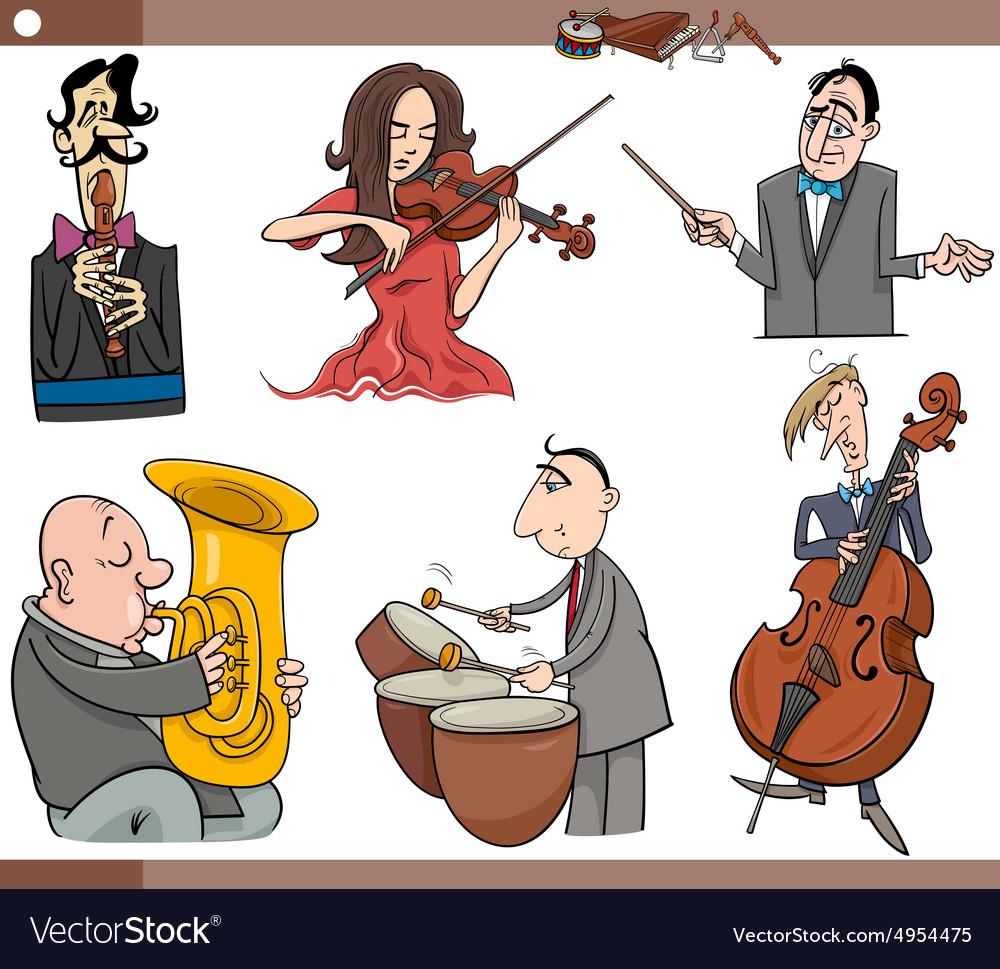 Musicians characters set cartoon