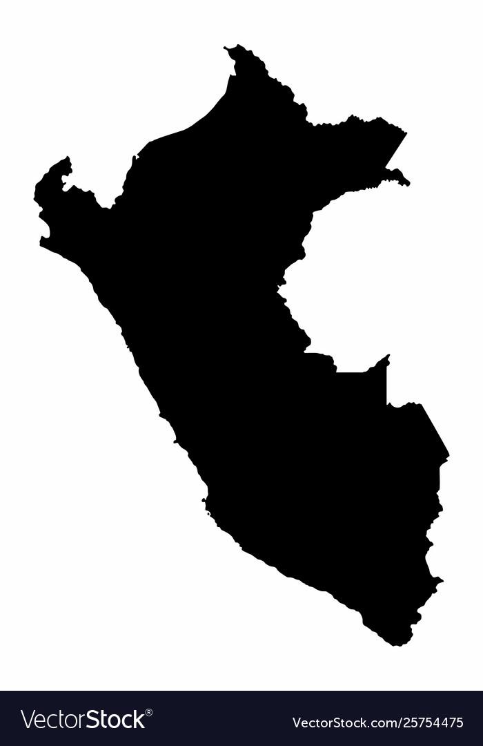 Peru map dark silhouette