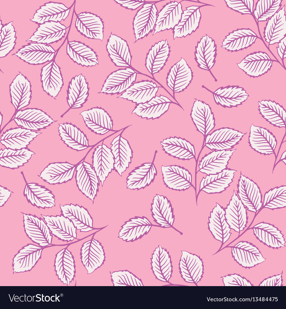 Seamless pattern with cute leaves