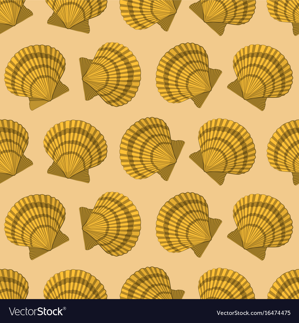 Seamless pattern with yellow shell paper