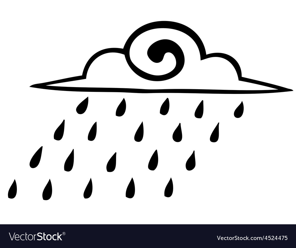 Sketch rain clouds on a white background icon