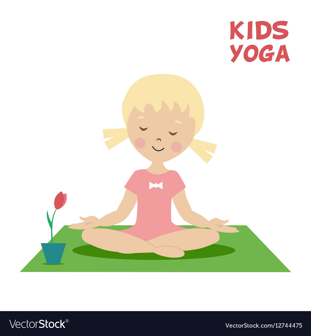 The Child Is Engaged In Kids Yoga Little Girl Vector Image