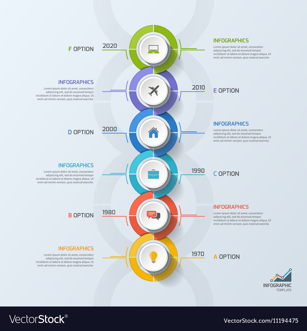 timeline business vertical infographic template 6 vector image