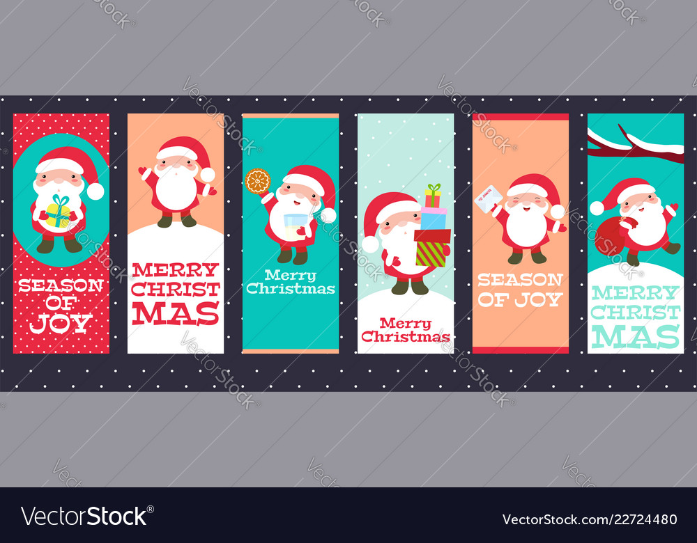 Collection of christmas banners with cute santa
