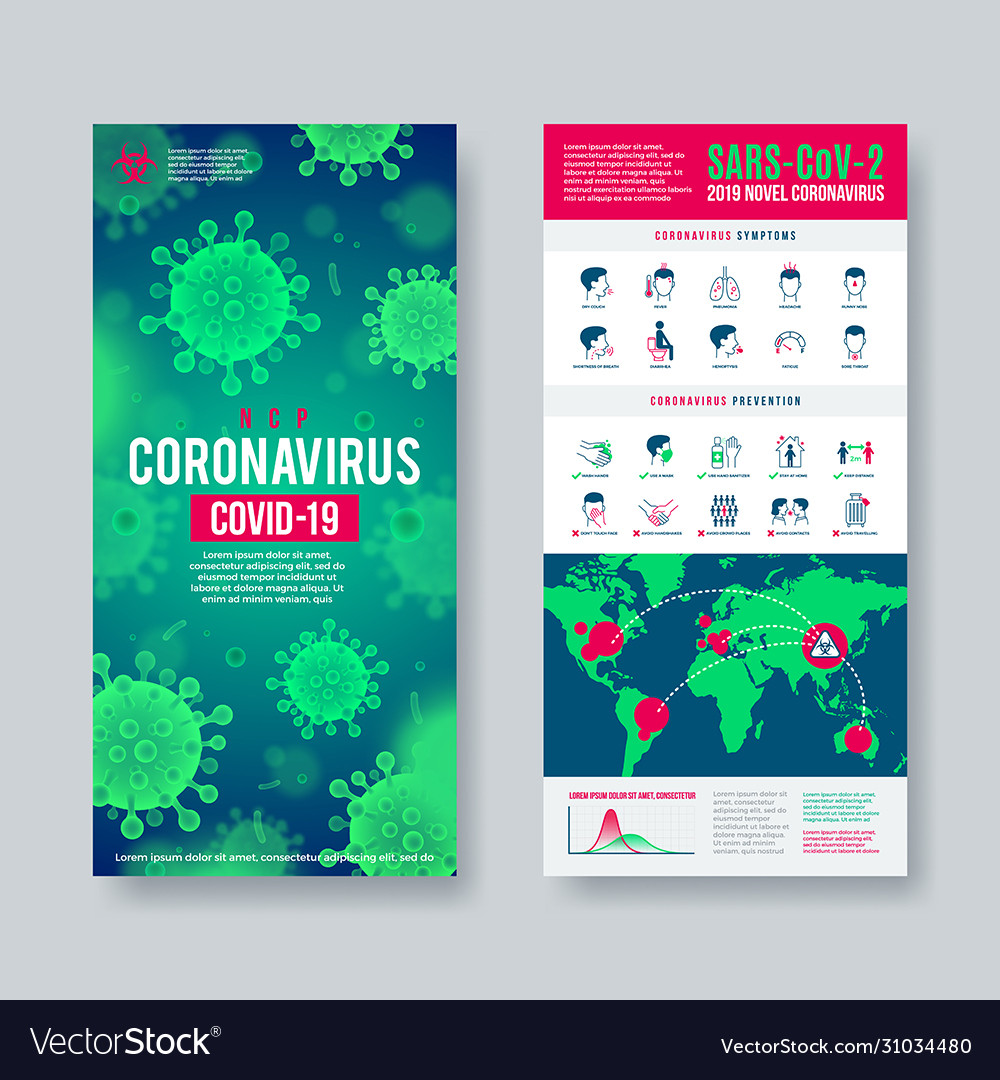 Coronavirus banner set with infographic elements