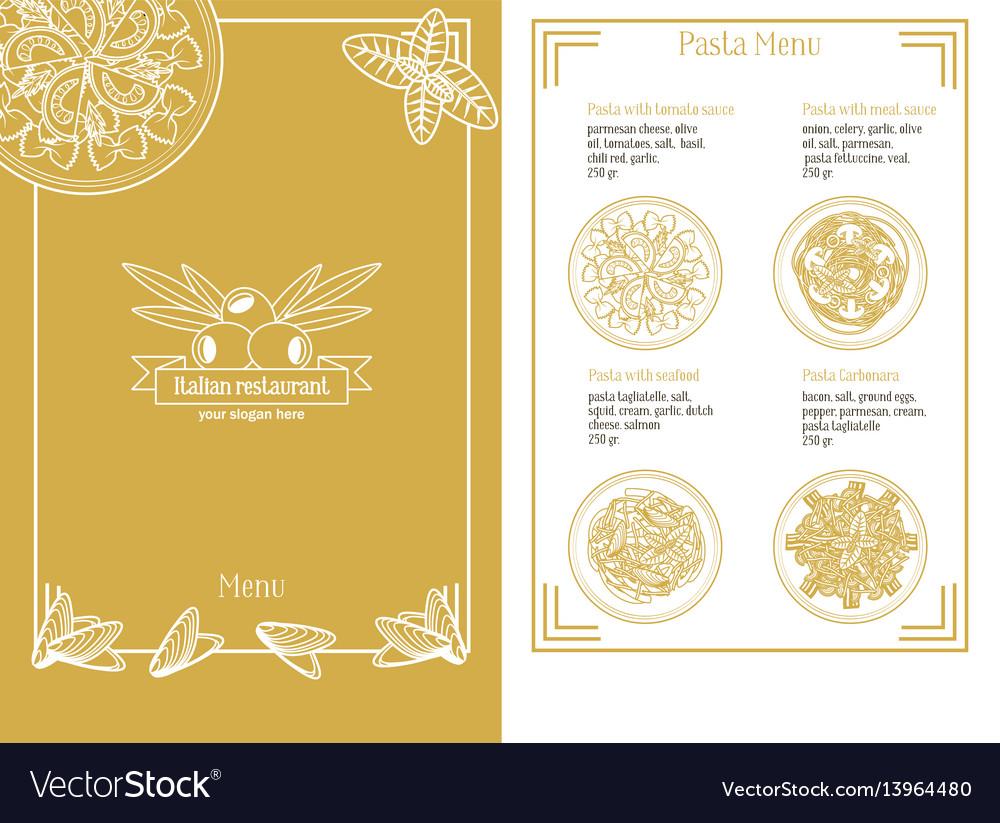 hand drawn italian menu template royalty free vector image