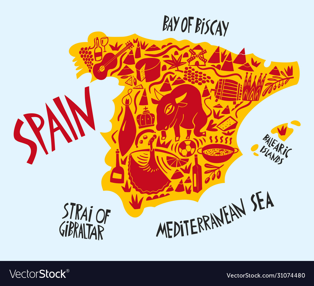 Hand drawn stylized map spain travel spain