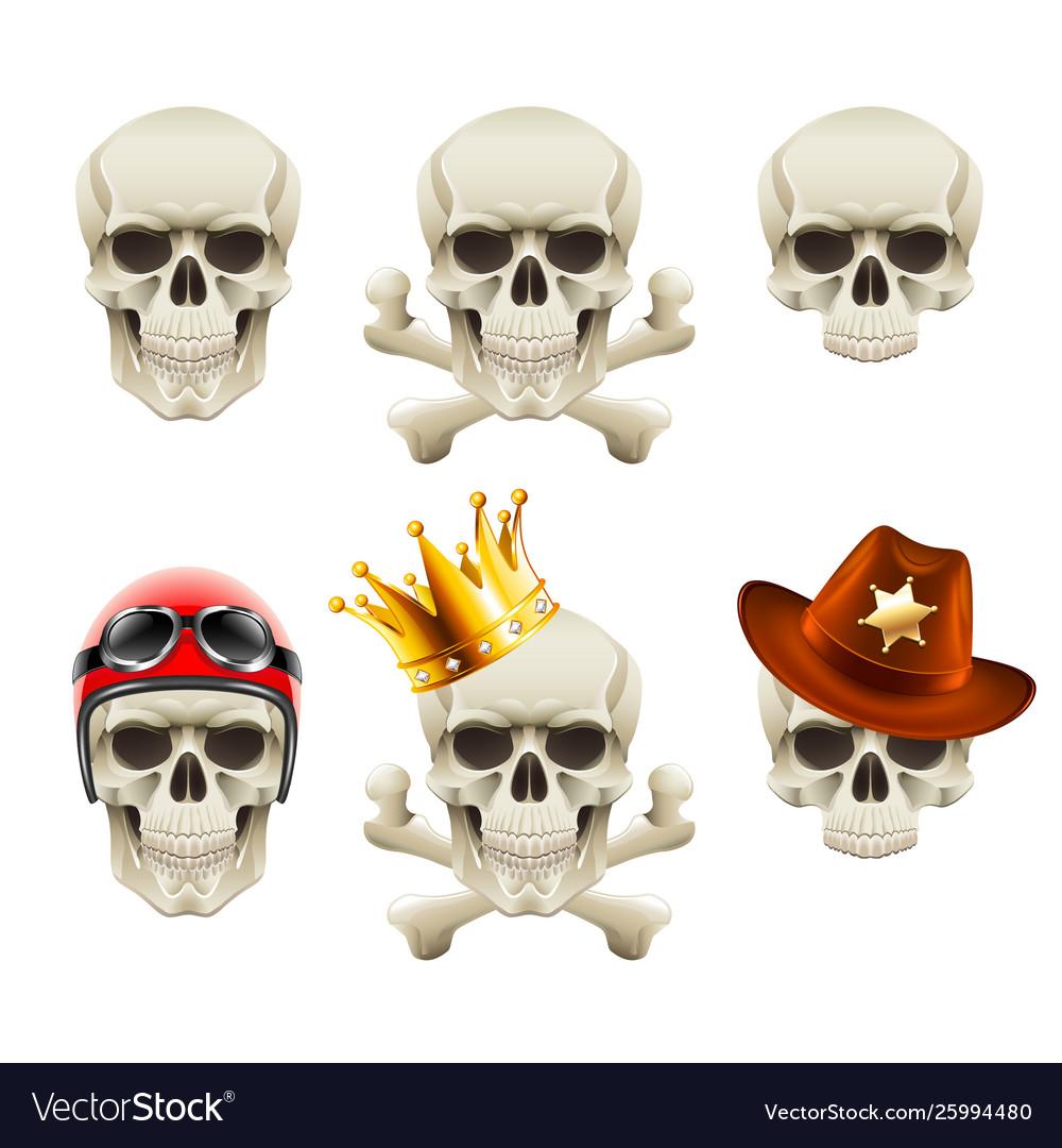 Human skulls icons photo realistic set