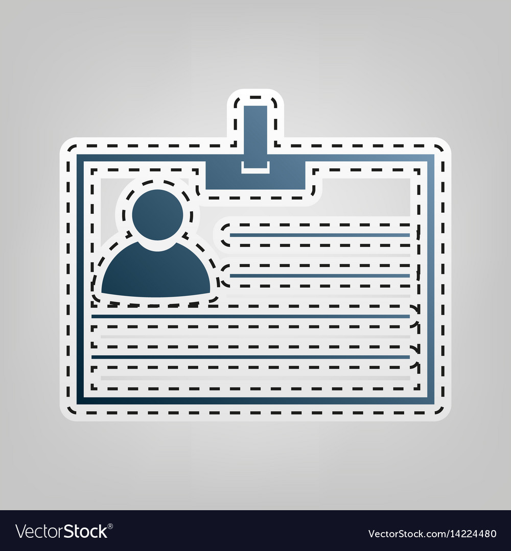 Id card sign blue icon with outline for