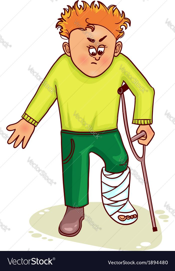 ill little man with broken leg royalty free vector image rh vectorstock com broken leg cartoon gif broken leg cartoon gif