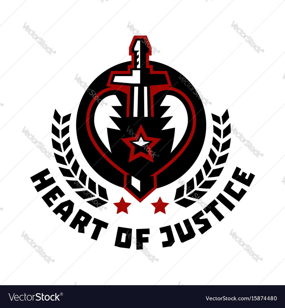 Logo heart of justice the sword piercing the Vector Image
