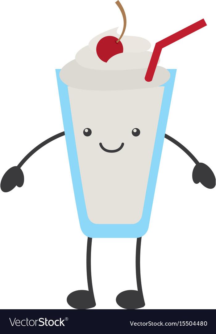 Milkshake glass kawaii character