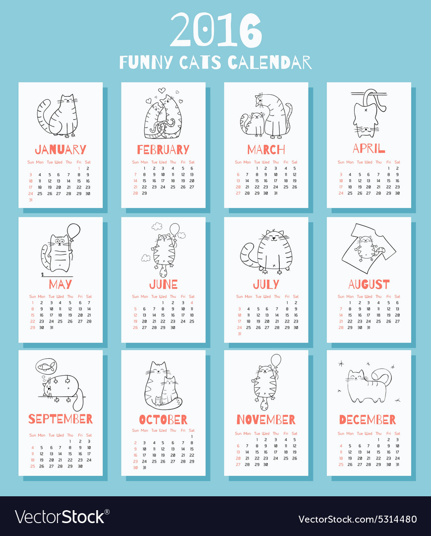 New 2016 year calendar with cute funny cartoons vector image