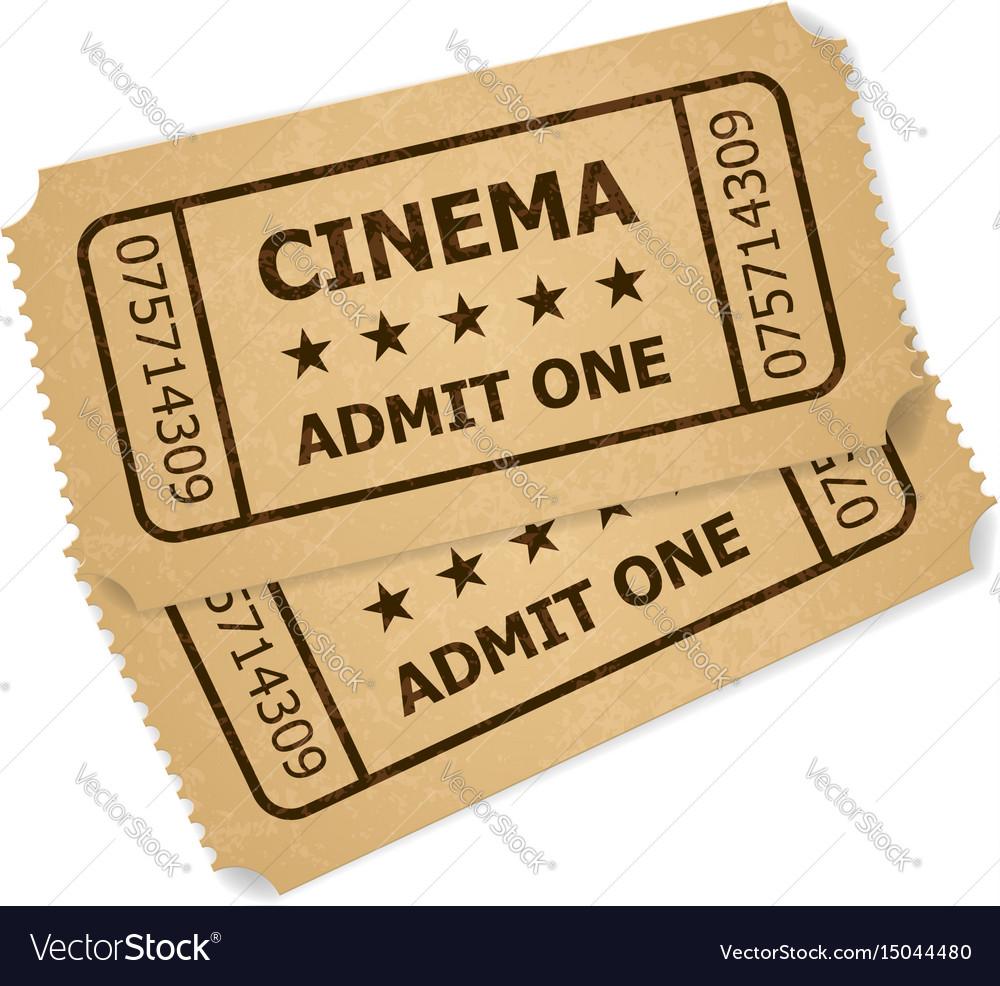 Two retro cinema tickets of designer on a white