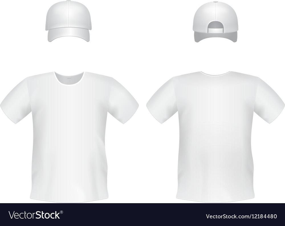 White Blank T Shirt Template With A Cap Vector Image