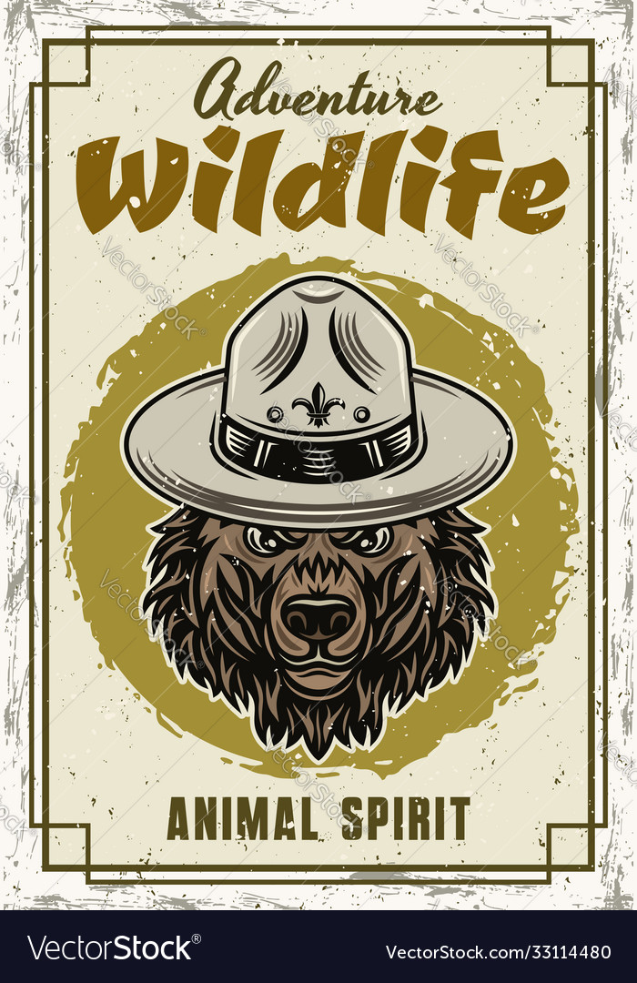 Wild animal decorative poster with grizzly