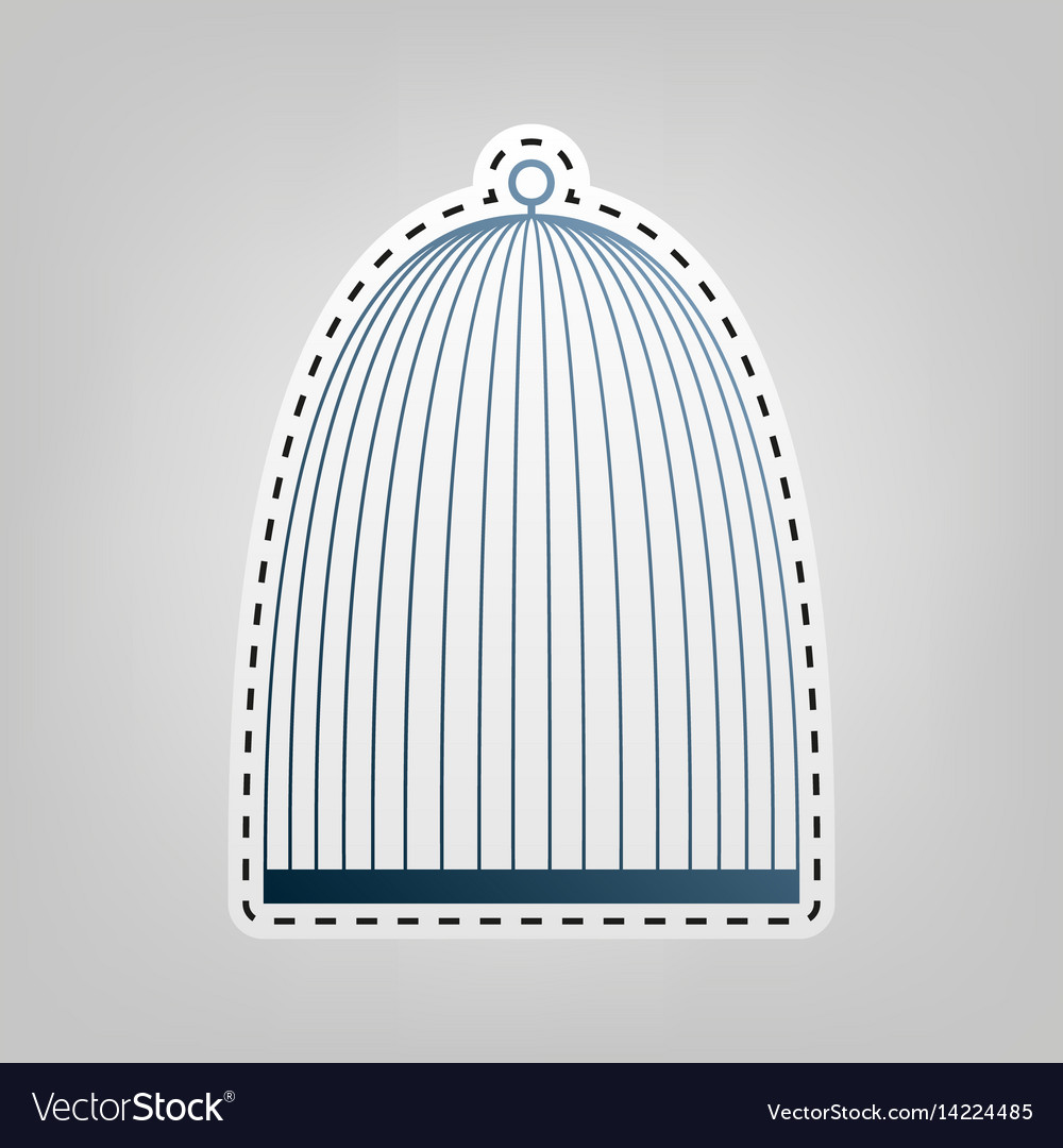 Bird cage sign blue icon with outline for vector image