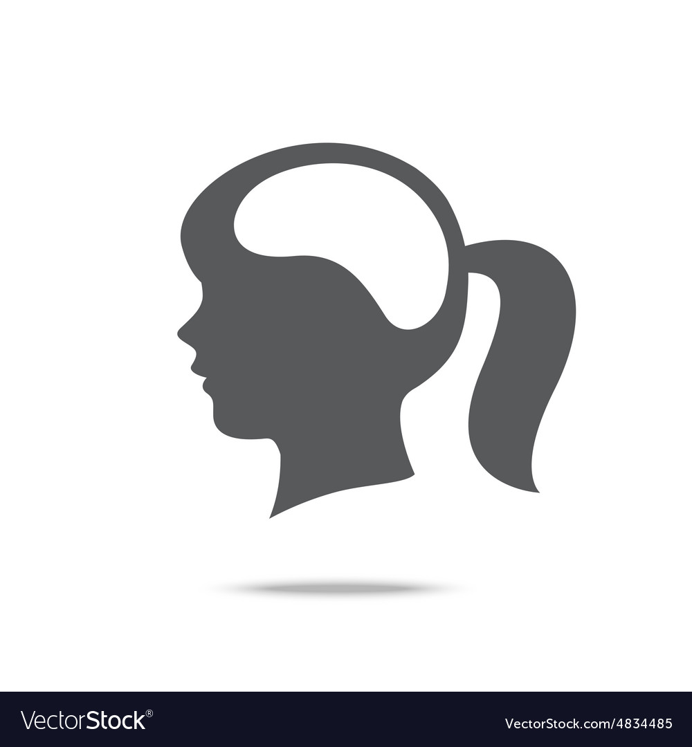 Blank brain woman head icon isolated on white vector image
