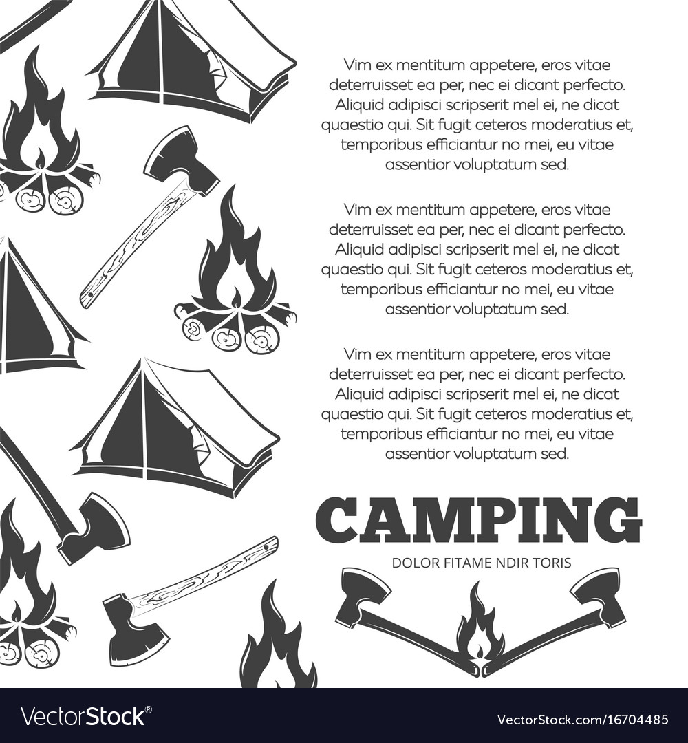 Camping poster with fire axes tent