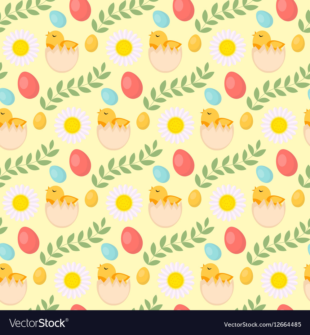 Cute easter seamless pattern with chick eggs and
