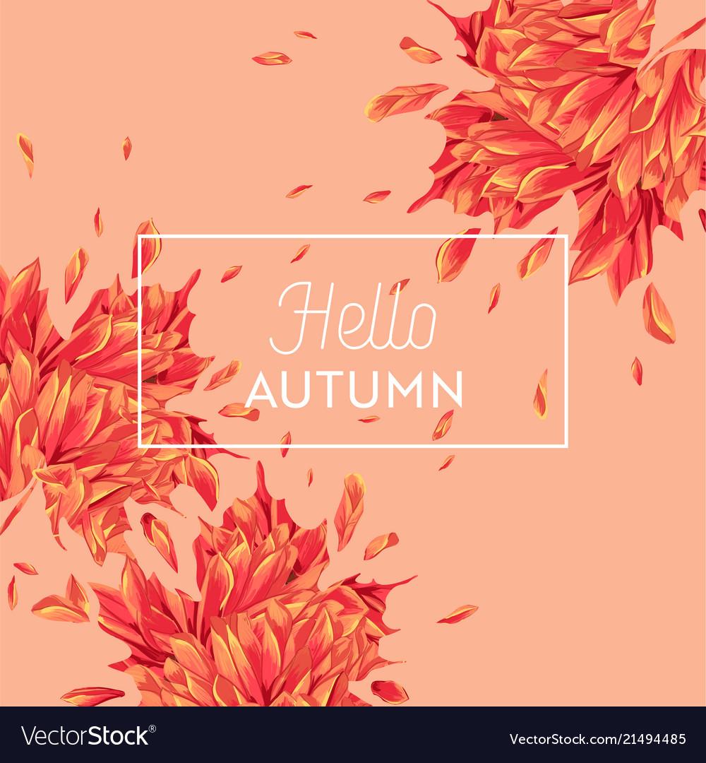 Hello autumn watercolor floral design maple leaf