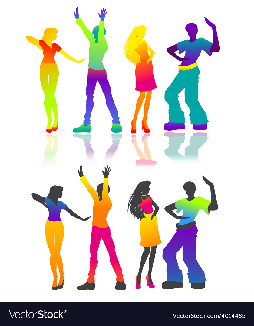 Isolated dancing men and women vector image