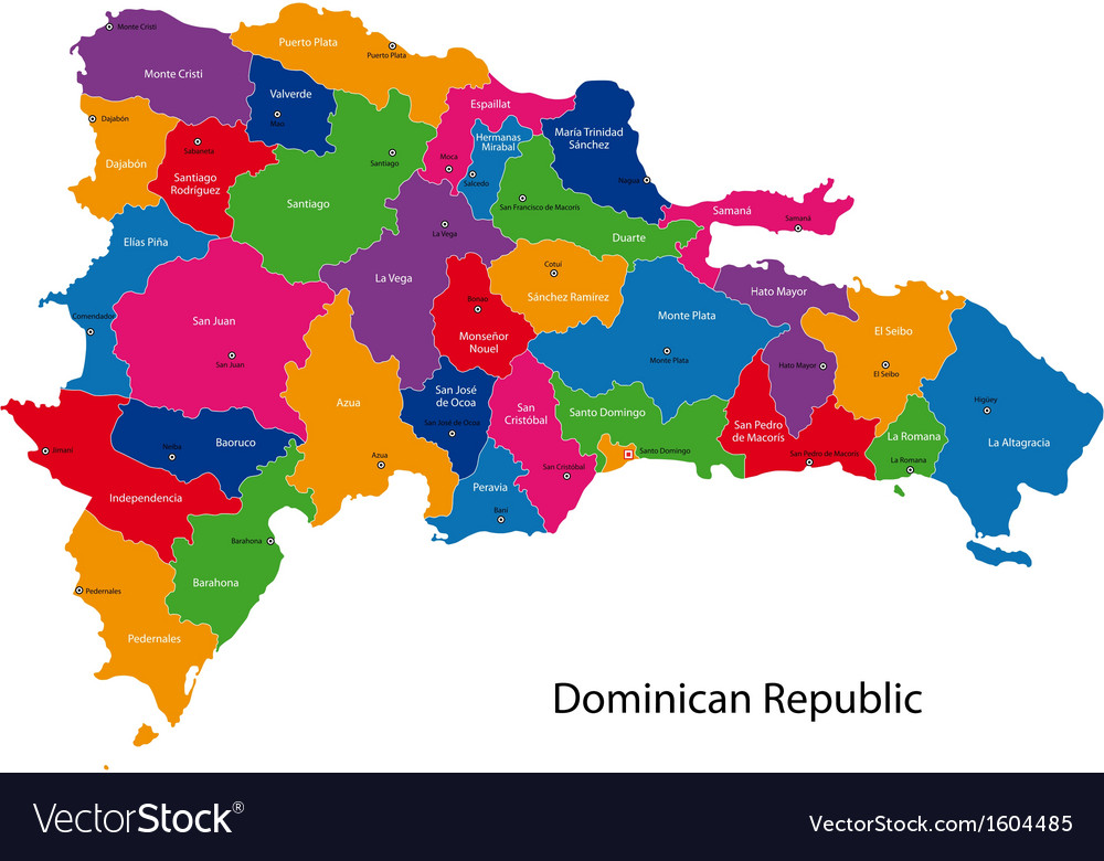 Map of Dominican Republic Royalty Free Vector Image