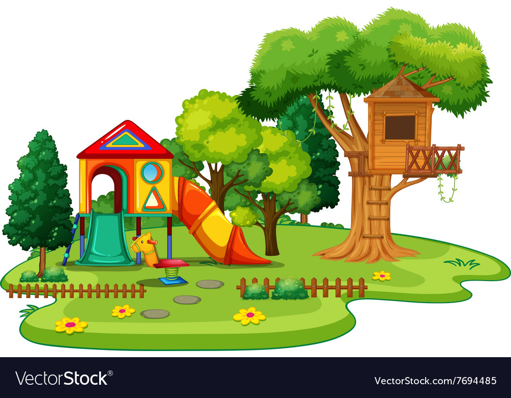 Playhouse and treehouse in the park