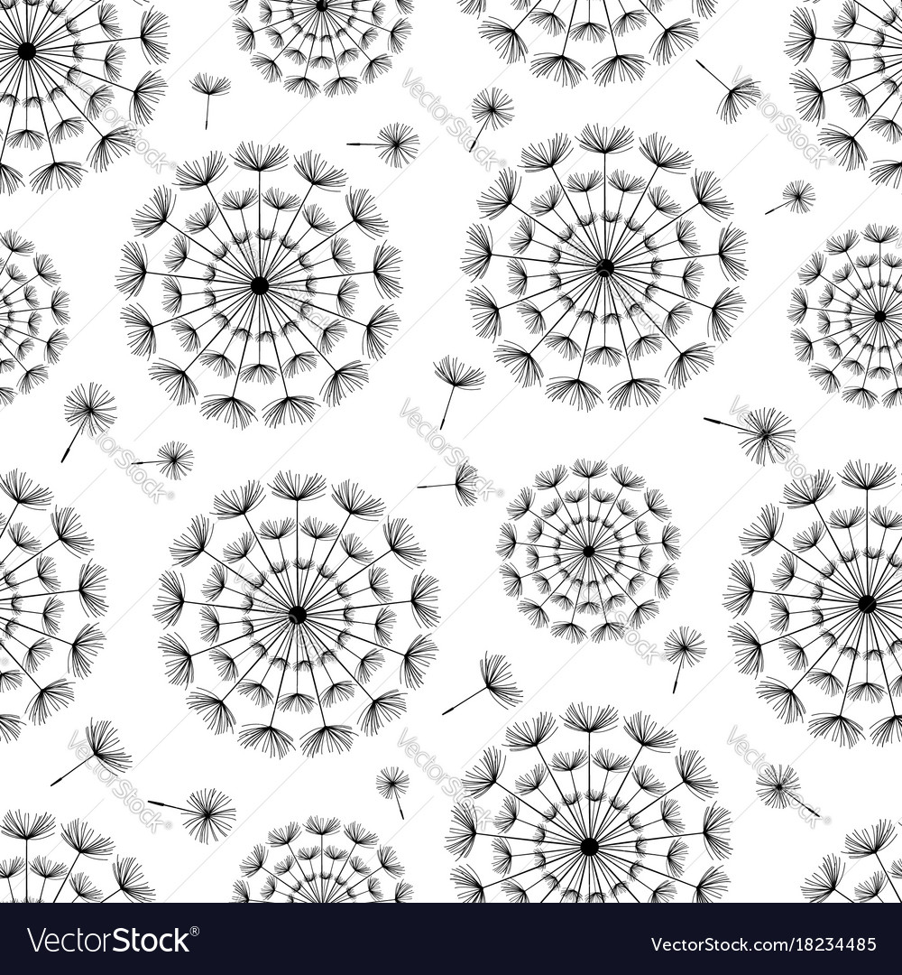 Seamless background with dandelion fluff vector image