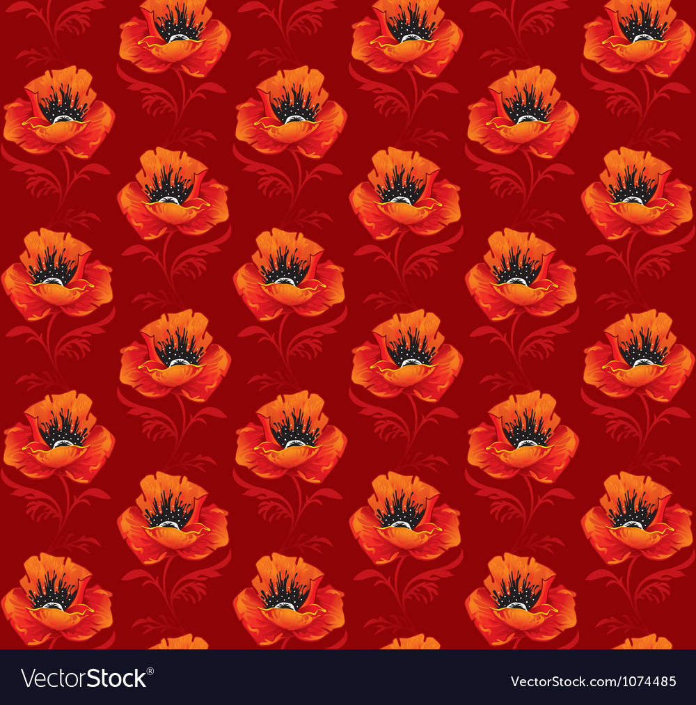 Seamless background with poppies vector image