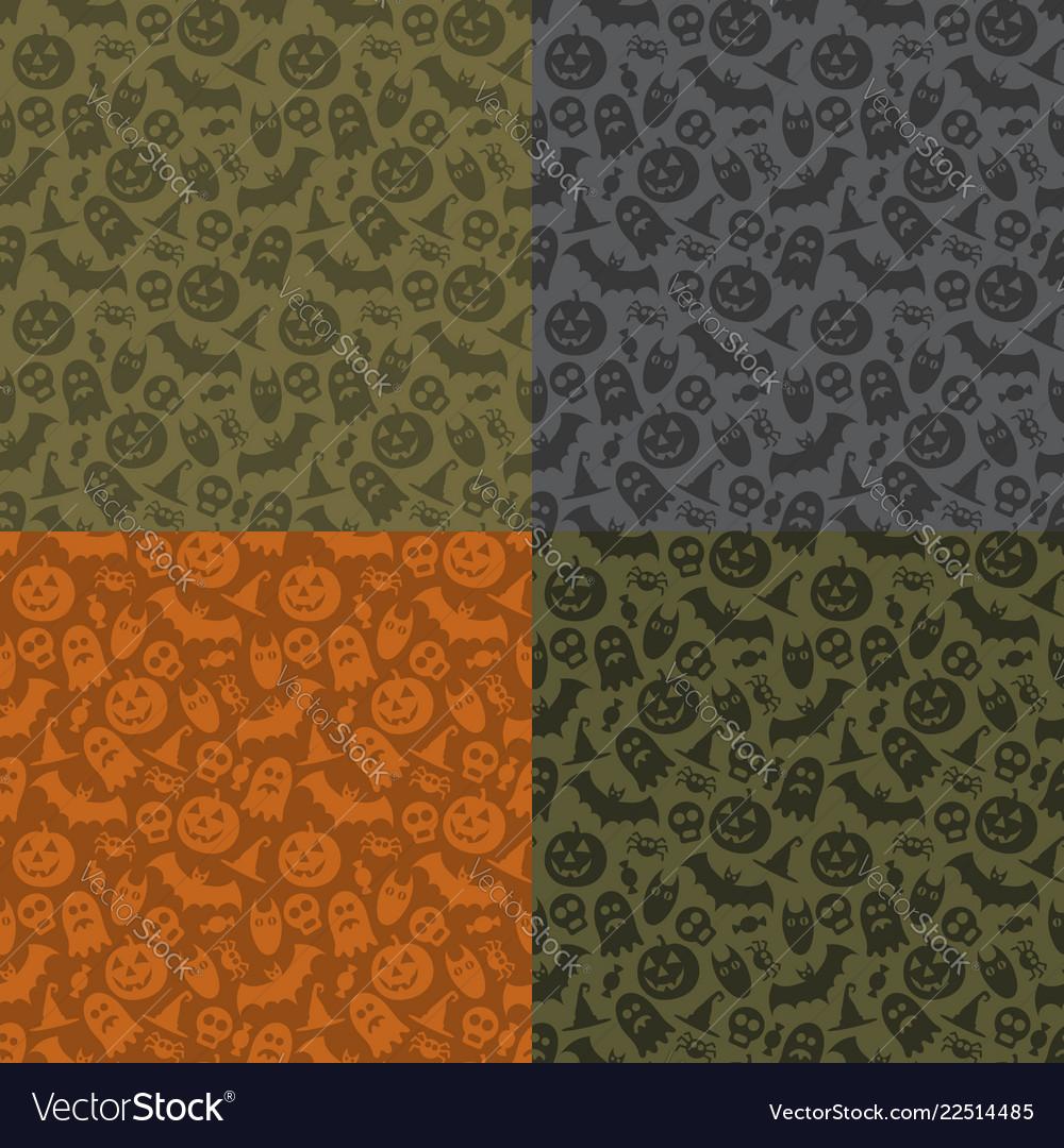 Set of halloween seamless patterns