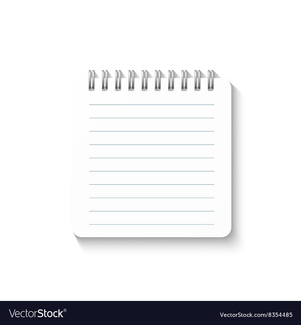 template with spiral notebook isolated on white vector image